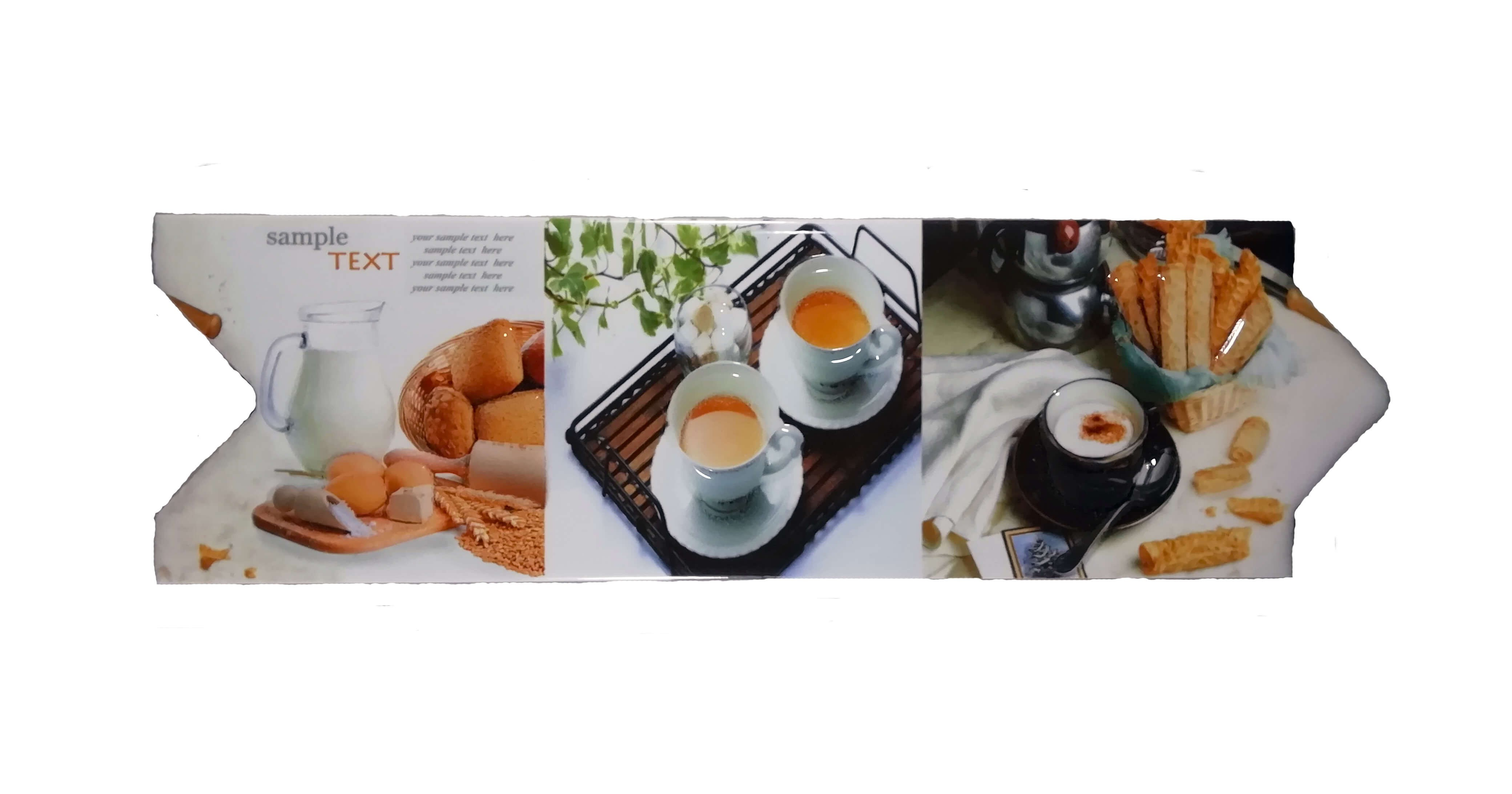 Cenefa café para cocina tipo Flecha Serie Vitrosa 8x25 cm Alcesa