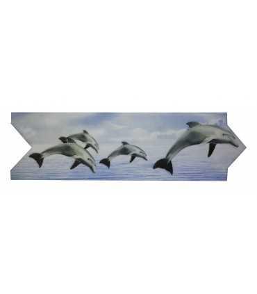 Cenefa de delfines Estilo Flecha Serie Vitrosa 8x25 cm Alcesa - Ecart