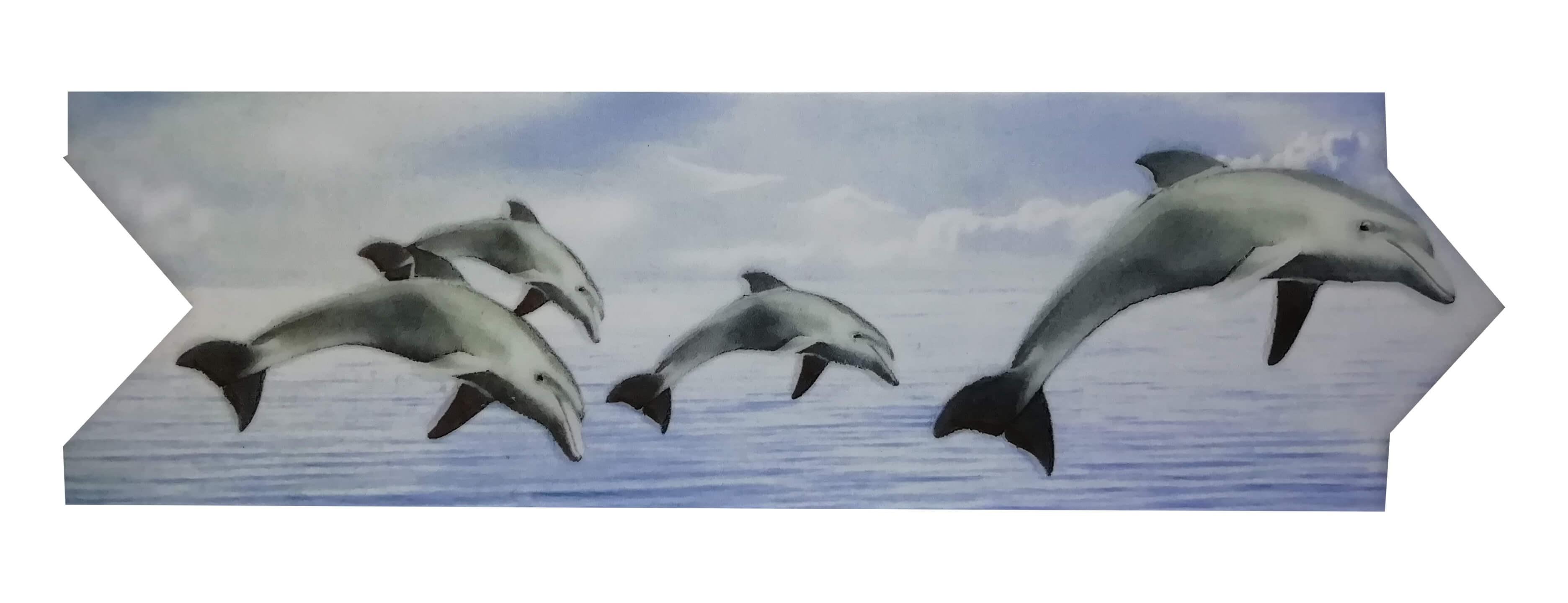 Cenefa de delfines Estilo Flecha Serie Vitrosa 8x25 cm Alcesa